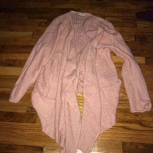 Pink flowy cardigan with pockets waterfall sweater